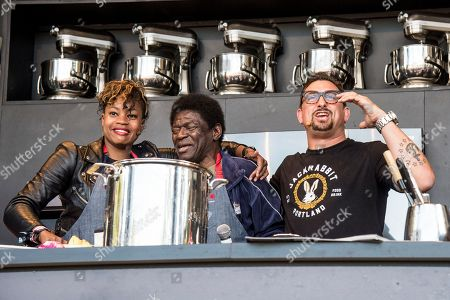 Noelle Scaggs, from left, Charles Bradley and Chris Cosentino seen at BottleRock Napa Valley Music Festival at Napa Valley Expo, in Napa, Calif