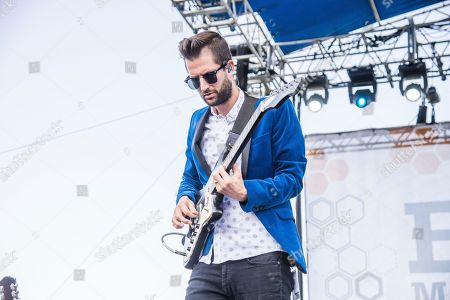 Stock Image of Todd Gummerman of Mutemath performs at the Bunbury Music Festival, in Cincinnati
