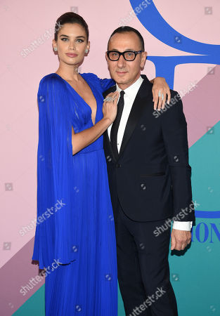 Sara Sampaio, left, and Gilles Mendel attends the CFDA Fashion Awards at the Hammerstein Ballroom, in New York