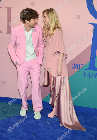 Sander Lak, left, and Brit Marling attend the CFDA Fashion Awards at the Hammerstein Ballroom, in New York
