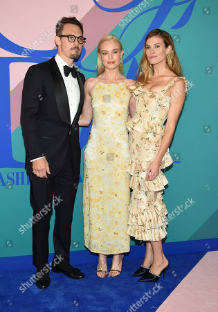 Kristopher Brock, from left, Kate Bosworth and Laura Vassar Brock attend the CFDA Fashion Awards at the Hammerstein Ballroom, in New York