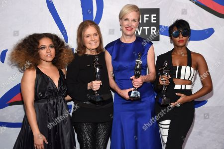 Eryn Allen Kane, from left, poses in the press room with Gloria Steinem, Cecile Richards and Janelle Monae, winners of the board of directors' tribute, at the CFDA Fashion Awards at the Hammerstein Ballroom, in New York