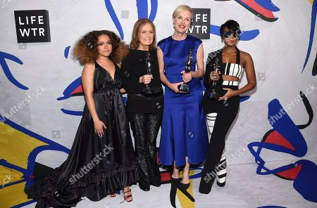 Stock Photo of Eryn Allen Kane, from left, poses in the press room with Gloria Steinem, Cecile Richards and Janelle Monae, winners of the board of directors' tribute, at the CFDA Fashion Awards at the Hammerstein Ballroom, in New York