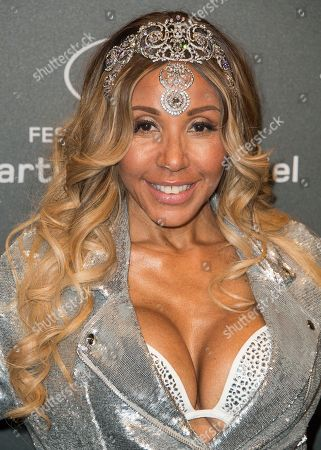 Cathy Guetta poses for photographers upon arrival at the Chopard Space Party during the 70th international film festival, Cannes, southern France