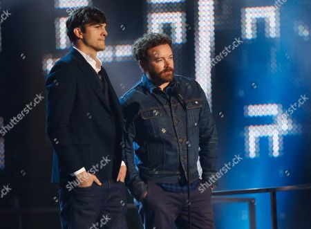 Stock Picture of Ashton Kutcher, left, and Danny Masterson present the award for collaborative video of the year at the CMT Music Awards at Music City Center, in Nashville, Tenn