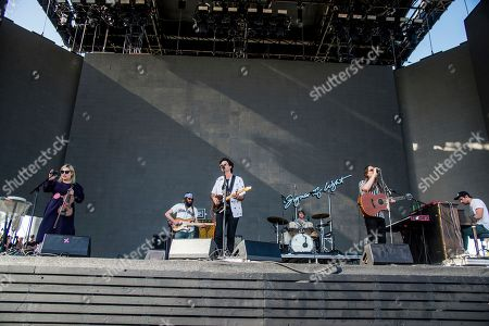Charity Rose Thielen, from left, Chris Zasche, Jonathan Russel, Tyler Williams, Josiah Johnson and Kenny Hensley of The Head and the Heart perform at Coachella Music & Arts Festival at the Empire Polo Club, in Indio, Calif