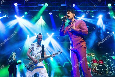 Tom Dumont, left, and Davey Havok of Dreamcar perform at Coachella Music & Arts Festival at the Empire Polo Club, in Indio, Calif