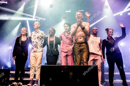 Tom Dumont, second from left, Davey Havok, Adrian Young and Tony Kanal of Dreamcar perform at Coachella Music & Arts Festival at the Empire Polo Club, in Indio, Calif
