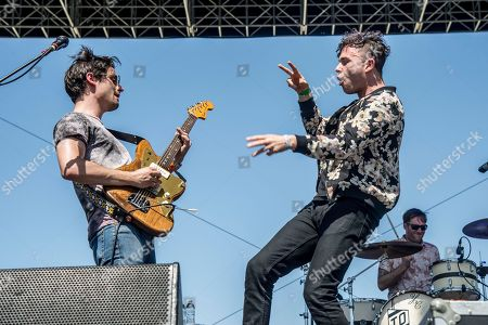 Mike DeAngelis, left, and Max Kerman of the Arkells perform at Coachella Music & Arts Festival at the Empire Polo Club, in Indio, Calif