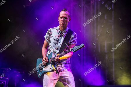 Tom Dumont of Dreamcar performs at Coachella Music & Arts Festival at the Empire Polo Club, in Indio, Calif