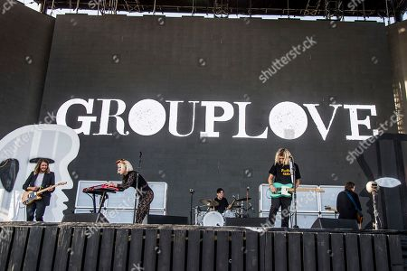 Andrew Wessen, from left, Hannah Hooper, Ryan Rabin and Christian Zucconi of Grouplove perform at Coachella Music & Arts Festival at the Empire Polo Club, in Indio, Calif