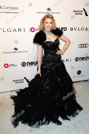 Renee Olstead arrives at the 2017 Elton John AIDS Foundation Oscar Viewing Party, in West Hollywood, Calif