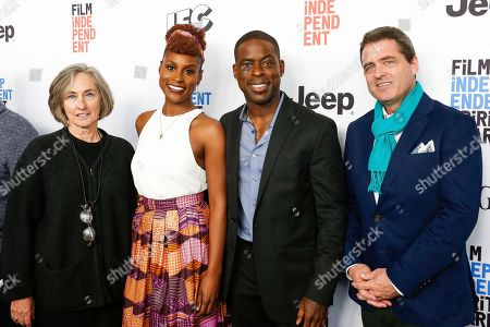 Stock Image of Mary Sweeney, from left, Issa Rae, Sterling K. Brown, and Josh Welsh arrive at the 2017 Film Independent Filmmaker Grant and Spirit Award Nominees Brunch, in West Hollywood, Calif