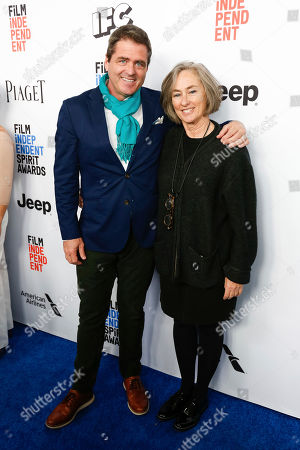 Stock Picture of Josh Welsh, left, and Mary Sweeney arrive at the 2017 Film Independent Filmmaker Grant and Spirit Award Nominees Brunch, in West Hollywood, Calif