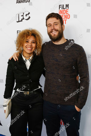 Craig Shilowich, right, and Melody C.Rosher arrive at the 2017 Film Independent Filmmaker Grant and Spirit Award Nominees Brunch, in West Hollywood, Calif