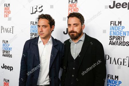Juan de Dios Larrain, left, and Pablo Larrain arrive at the 2017 Film Independent Filmmaker Grant and Spirit Award Nominees Brunch, in West Hollywood, Calif