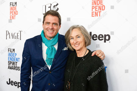 Josh Welsh, left, and Mary Sweeney arrive at the 2017 Film Independent Filmmaker Grant and Spirit Award Nominees Brunch, in West Hollywood, Calif