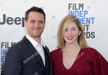 Spencer Averick, left, and guest arrive at the Film Independent Spirit Awards, in Santa Monica, Calif