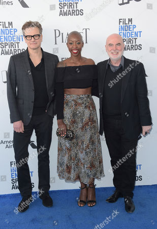 Colin Firth, from left, Oge Egbuonu, and Ged Doherty arrive at the Film Independent Spirit Awards, in Santa Monica, Calif