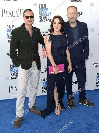 Mauricio Zacharias, left, Paulina Garcia, and Ira Sachs arrives at the Film Independent Spirit Awards, in Santa Monica, Calif
