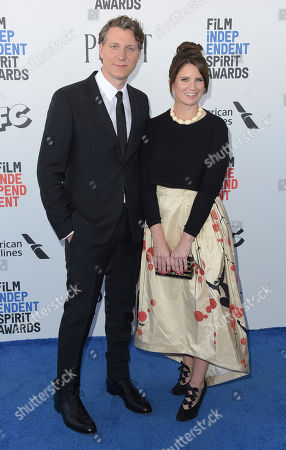 Jeff Nichols, left, and guest arrive at the Film Independent Spirit Awards, in Santa Monica, Calif