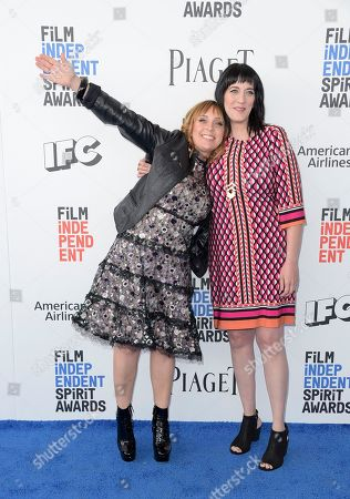 Miranda Bailey, left, and Amanda Marshall arrive at the Film Independent Spirit Awards, in Santa Monica, Calif