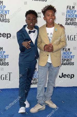 Alex R. Hibbert, left, and Jaden Piner arrive at the Film Independent Spirit Awards, in Santa Monica, Calif