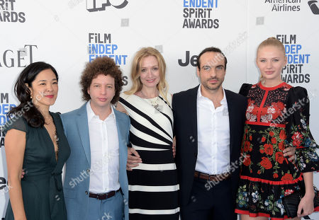 Stock Picture of Gina Kwon, from left, Michel Franco, Rachel Pickup, Moises Zonana, and Kristina Gromovaite arrive at the Film Independent Spirit Awards, in Santa Monica, Calif