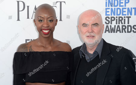 Oge Egbuonu, left, and Ged Doherty arrive at the Film Independent Spirit Awards, in Santa Monica, Calif