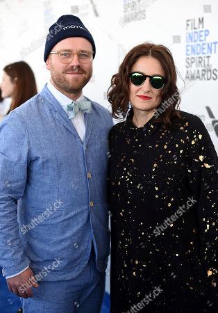 James Laxton, left, and Adele Romanski arrive at the Film Independent Spirit Awards, in Santa Monica, Calif