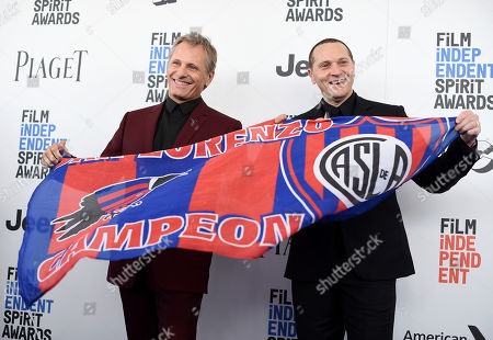 Viggo Mortensen, left, and Matt Ross arrive at the Film Independent Spirit Awards, in Santa Monica, Calif