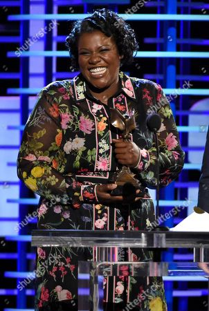 "Joi McMillon accepts the award for best editing for ""Moonlight"" at the Film Independent Spirit Awards, in Santa Monica, Calif"