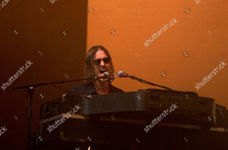 Stock Photo of Andrew Wyatt of the band Miike Snow performs on Day 2 of the 2017 Firefly Music Festival at The Woodlands, in Dover, Del