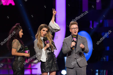 Alessia Cara, Shenae Grimes-Beech and Tyler Oakley present at the 2017 iHeartRadio Much Music Video Awards at Much Music, in Toronto, Ontario