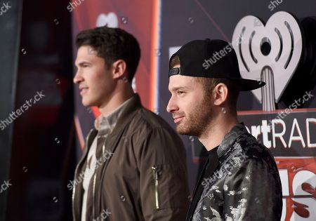 Stock Photo of Cal Shapiro, left, and Rob Resnick arrive at the iHeartRadio Music Awards at the Forum, in Inglewood, Calif