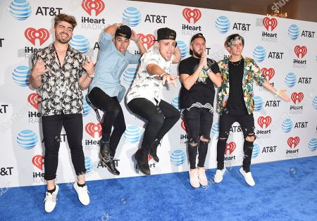 Stock Photo of Hector Rodriguez, from left, Ismael Cano, Juan Pablo Casillas, Tomas Slemenson and Matt Rey from Los 5 attend the iHeartRadio Summer Pool Party at the Fontainebleau Miami Beach, in Miami Beach, Fla