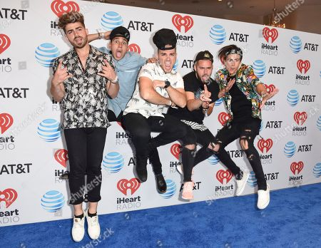 Stock Image of Hector Rodriguez, from left, Ismael Cano, Juan Pablo Casillas, Tomas Slemenson and Matt Rey from Los 5 attend the iHeartRadio Summer Pool Party at the Fontainebleau Miami Beach, in Miami Beach, Fla