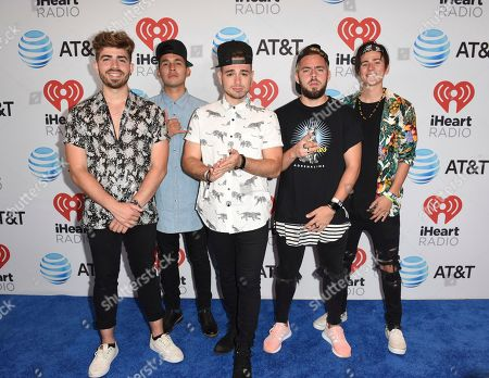 Hector Rodriguez, from left, Ismael Cano, Juan Pablo Casillas, Tomas Slemenson and Matt Rey from Los 5 attend the iHeartRadio Summer Pool Party at the Fontainebleau Miami Beach, in Miami Beach, Fla