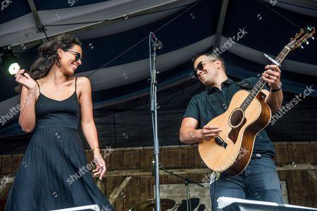 Amanda Sudano, left, and Abner Ramirez of JOHNNYSWIM perform at the New Orleans Jazz and Heritage Festival, in New Orleans