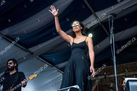 Amanda Sudano of JOHNNYSWIM performs at the New Orleans Jazz and Heritage Festival, in New Orleans