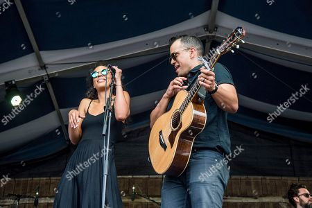 Stock Picture of Amanda Sudano, left, and Abner Ramirez of JOHNNYSWIM perform at the New Orleans Jazz and Heritage Festival, in New Orleans