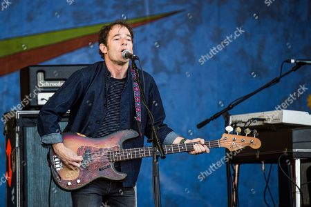 Stock Image of John Stirratt of Wilco performs at the New Orleans Jazz and Heritage Festival, in New Orleans