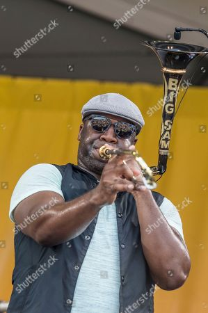 Big Sam of Big Sam's Funky Nation performs at the New Orleans Jazz and Heritage Festival, in New Orleans