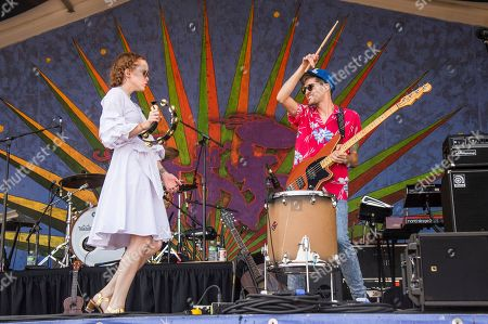 Nora Patterson, left, and Joshua Wells of Royal Teeth perform at the New Orleans Jazz and Heritage Festival, in New Orleans