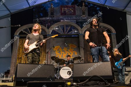 Kenny Wayne Shepherd, left, and Noah Hunt perform at the New Orleans Jazz and Heritage Festival, in New Orleans