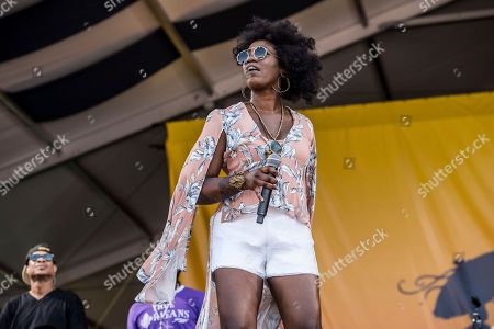 Erica Falls of Galactic performs at the New Orleans Jazz and Heritage Festival, in New Orleans