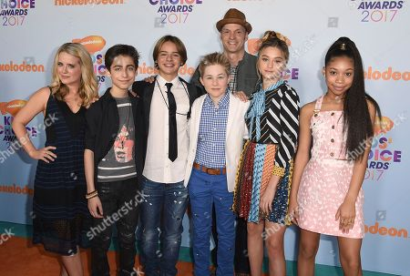 Stock Photo of Allison Munn, from left, Aidan Gallagher, Mace Coronel, Casey Simpson, Brian Stepanek, Lizzy Greene, and Gabrielle Elyse arrive at the Kids' Choice Awards at the Galen Center, in Los Angeles