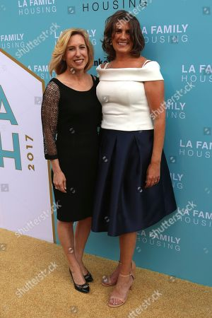 Wendy Greuel, left, and Stephanie Klasky-Gamer arrive at the 2017 LA Family Housing Awards at The Lot, in West Hollywood, Calif