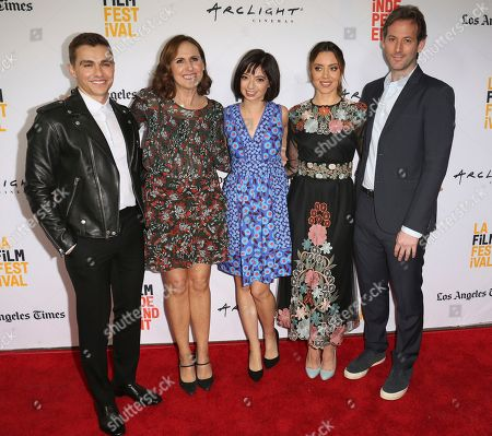 "Dave Franco, from left, Molly Shannon, Kate Micucci, Aubrey Plaza and Jeff Baena arrive at the premiere of ""The Little Hours"" at the 2017 Los Angeles Film Festival, in Culver City, Calif"