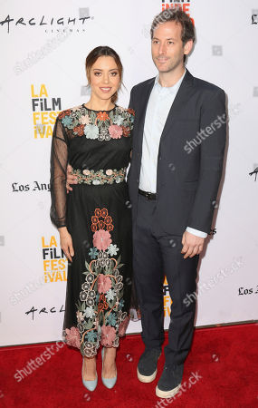 "Aubrey Plaza, left, and Jeff Baena arrive at the premiere of ""The Little Hours"" at the 2017 Los Angeles Film Festival, in Culver City, Calif"